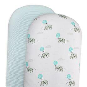 Living Textiles Elephant Moses/Pram Fitted Sheet Elephant/Aqua Stripe 2 Pack