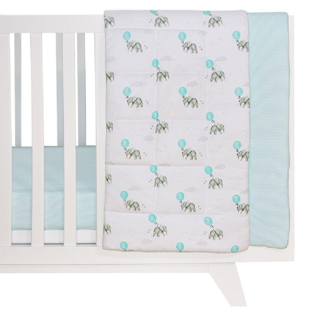 Living Textiles Elephant Cot Comforter Aqua image 0