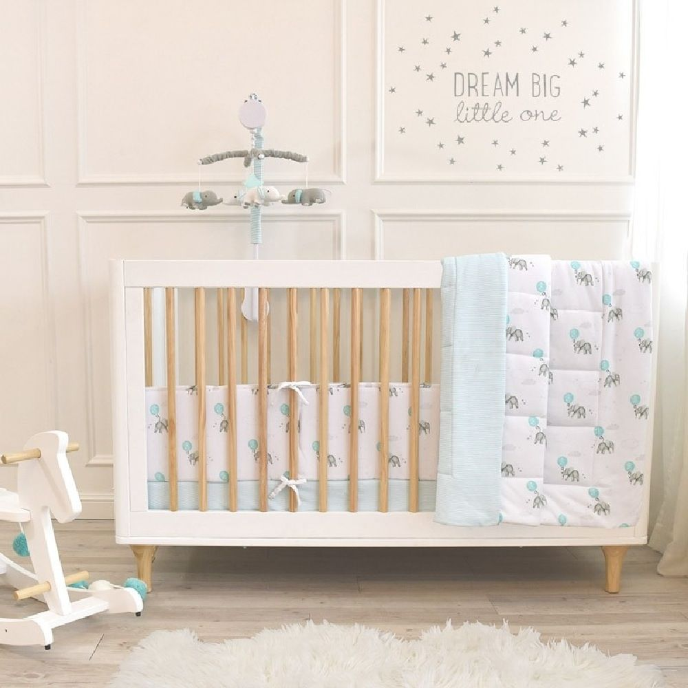 Living Textiles Elephant Cot Comforter Aqua image 1