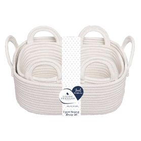 Living Textiles Cotton Rope Basket White 3 Piece