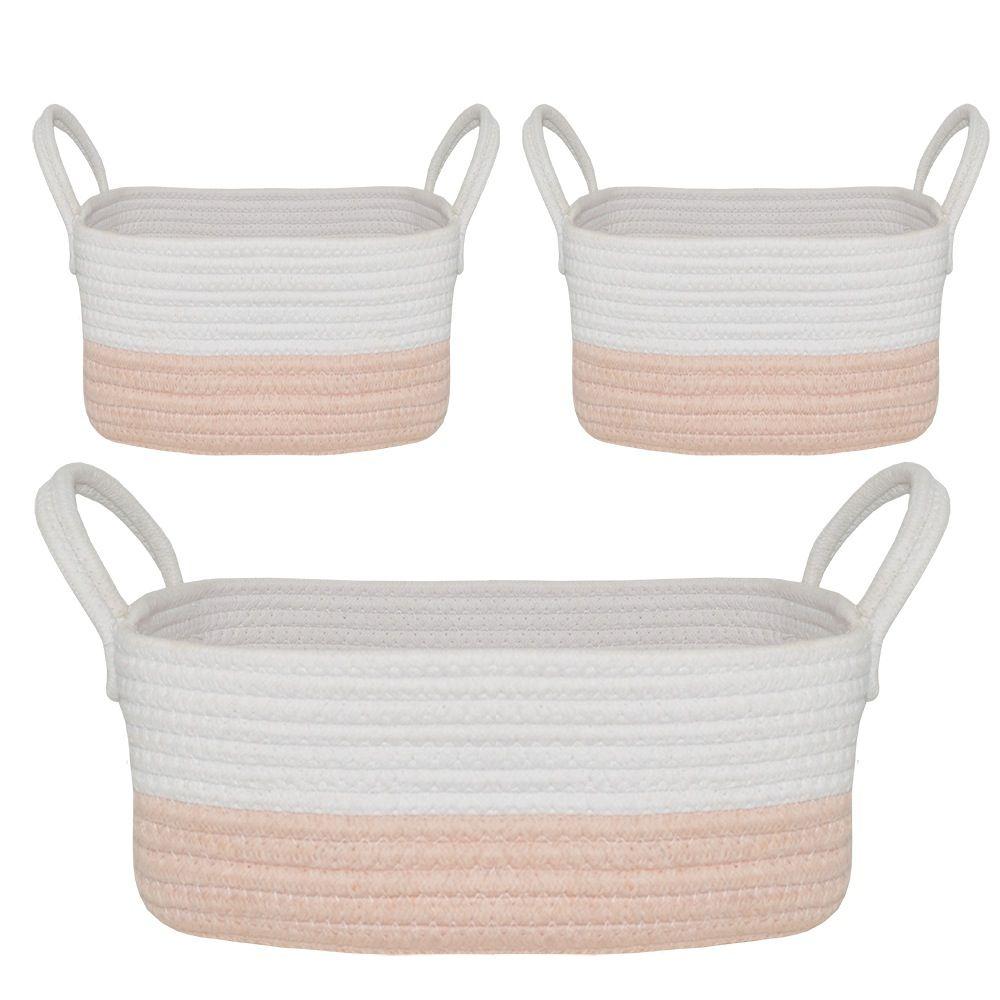 Living Textiles Cotton Rope Basket Pink 3 Piece