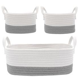Living Textiles Cotton Rope Basket Grey 3 Piece