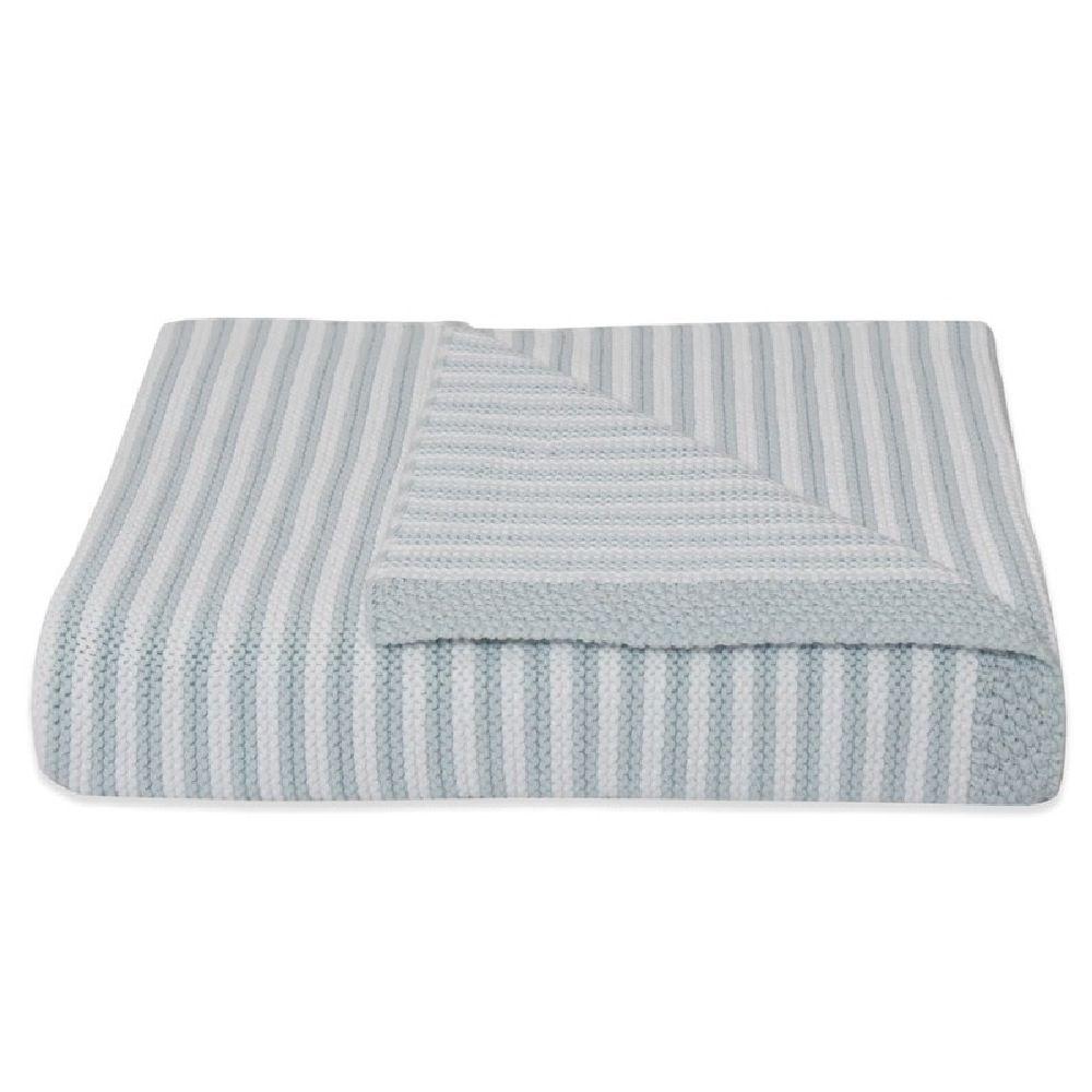 Living Textiles Knit Stripe Blanket Blue image 0