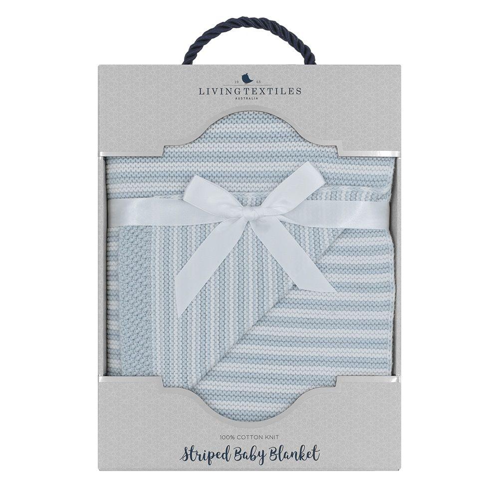 Living Textiles Knit Stripe Blanket Blue image 1