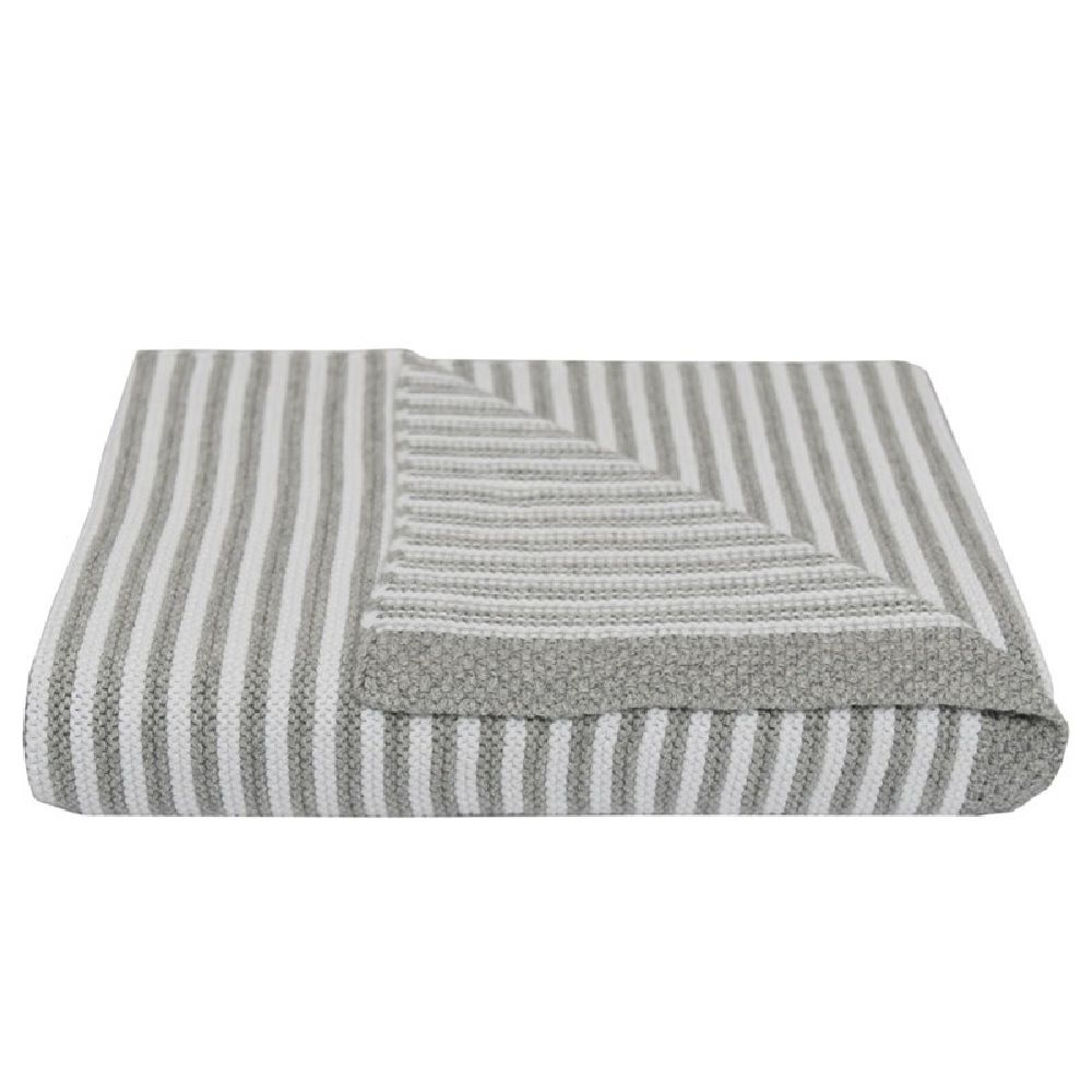 Living Textiles Knit Stripe Blanket Grey image 0