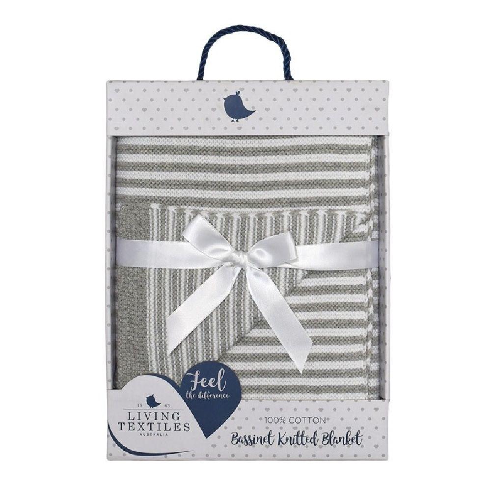 Living Textiles Knit Stripe Blanket Grey image 1