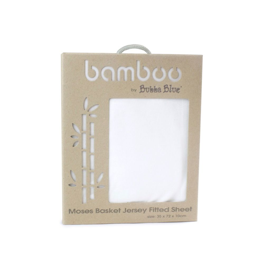 Bubba Blue Bamboo Jersey Moses Basket Fitted Sheet White image 1