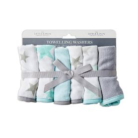 The Little Linen Company Towelling Wash Cloth Skydream Teal 6 Pack