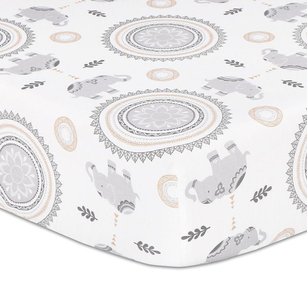 The Peanut Shell Boho Cot Fitted Sheet Elephant & Medallion image 0