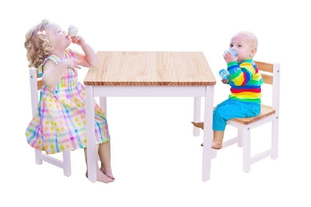 Tikk Tokk Little Boss Envy Timber Table & Chair Set White/Natural image 1