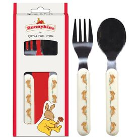 Bunnykins Spoon & Fork Set Playing Design Red