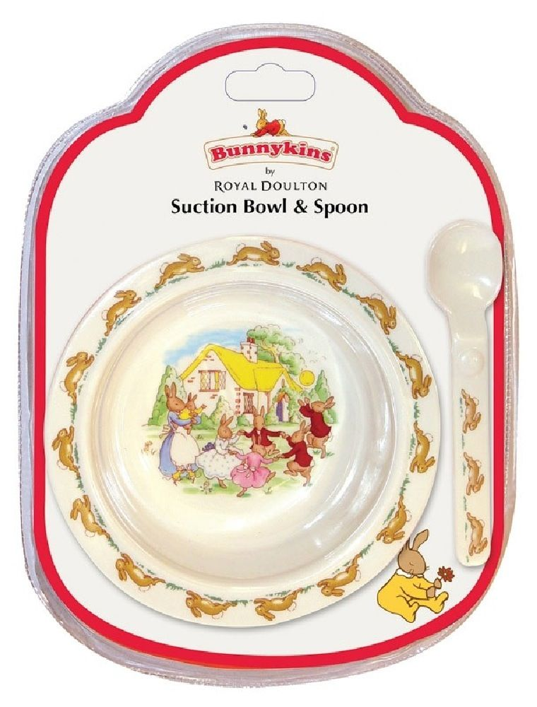 Bunnykins Suction Bowl & Spoon Set Playing Design Red