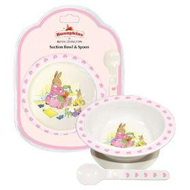 Bunnykins Suction Bowl & Spoon Set Sweethearts Pink