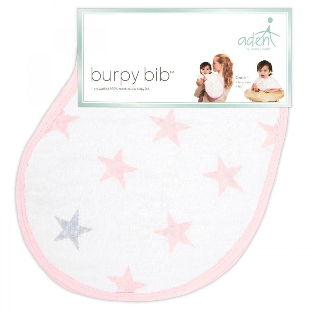 Aden Reversible Burpy Bib Stars Pink Doll image 1
