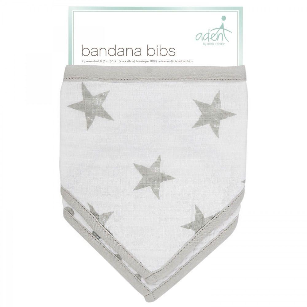 Aden Bandana Bibs Stars Grey Dusty 2 Pack image 1