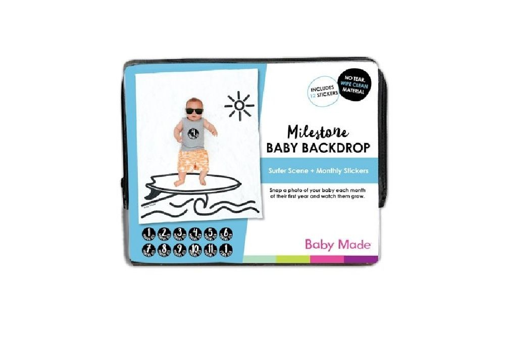Baby Made Baby Milestone Backdrop Surfer Scene image 1