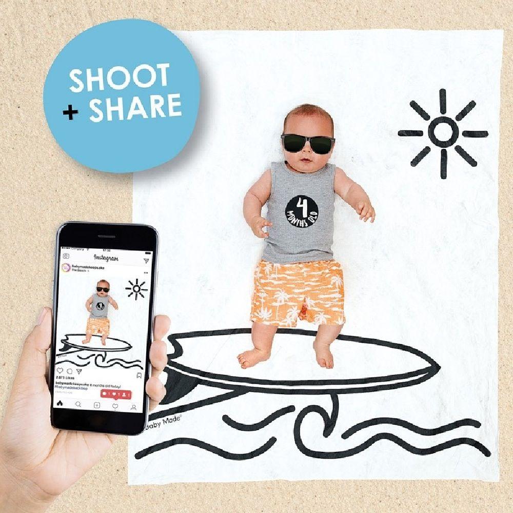 Baby Made Baby Milestone Backdrop Surfer Scene image 4
