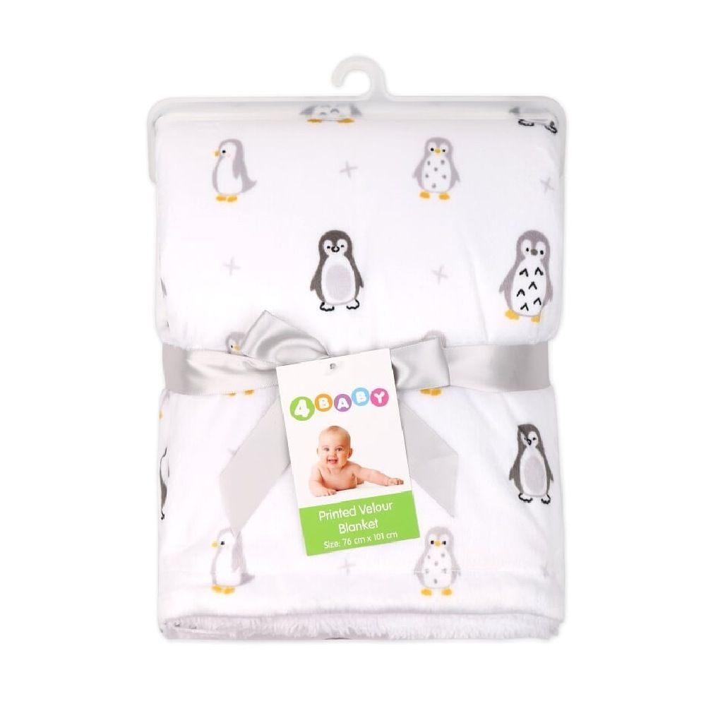 4Baby Velour Blanket with Sherpa Penguin image 1