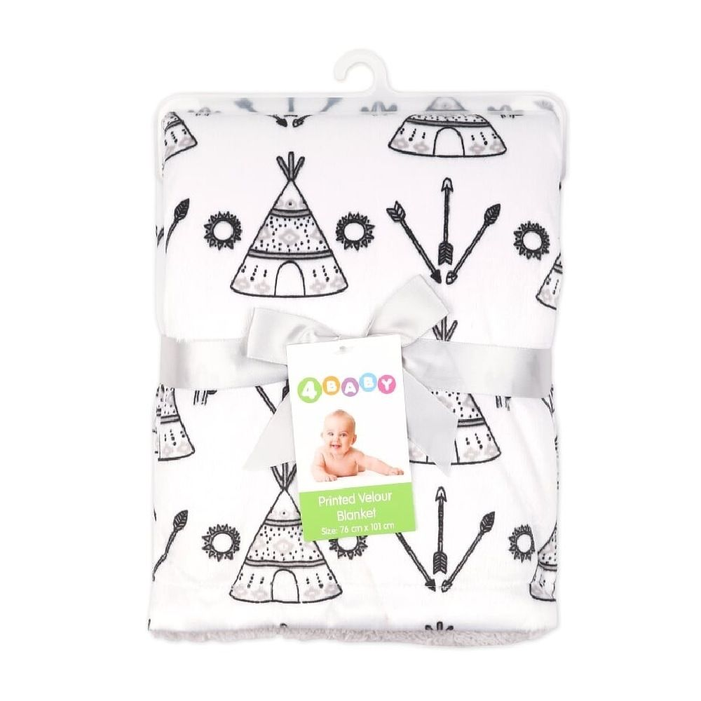 4Baby Velour Blanket with Sherpa Teepee image 1