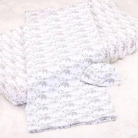 4Baby Newborn Set Beanie with Wrap & Bassinet Sheet Elephant