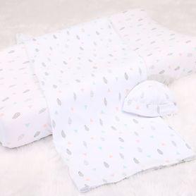 4Baby Newborn Set Beanie with Wrap & Bassinet Sheet Geo Feather