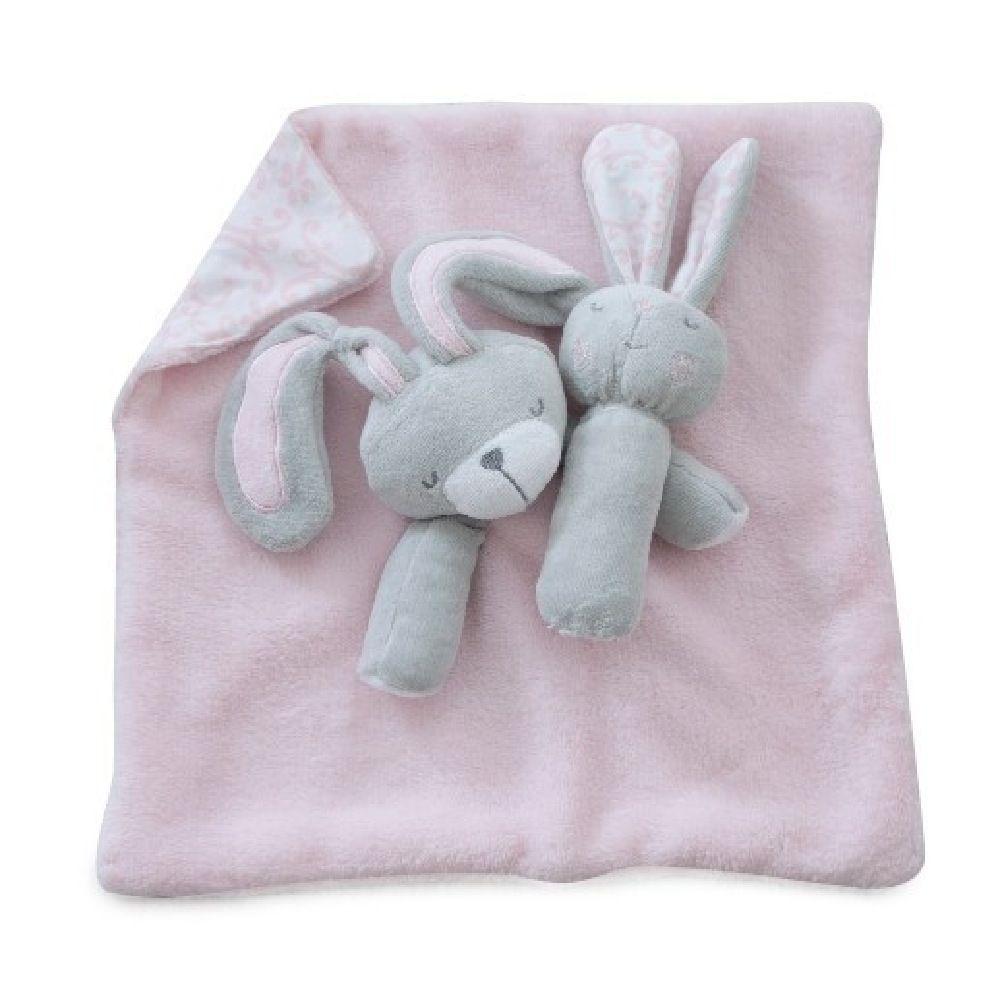 Bubba Blue Bunny Hop Security Blanket & Rattle Set image 0