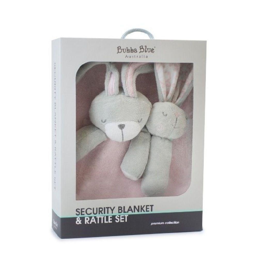 Bubba Blue Bunny Hop Security Blanket & Rattle Set image 1
