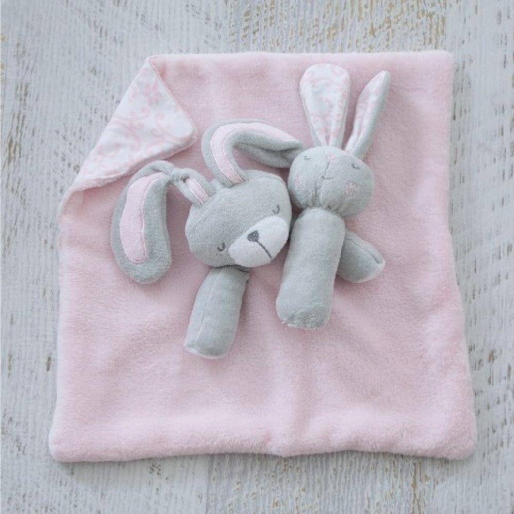 Bubba Blue Bunny Hop Security Blanket & Rattle Set image 3