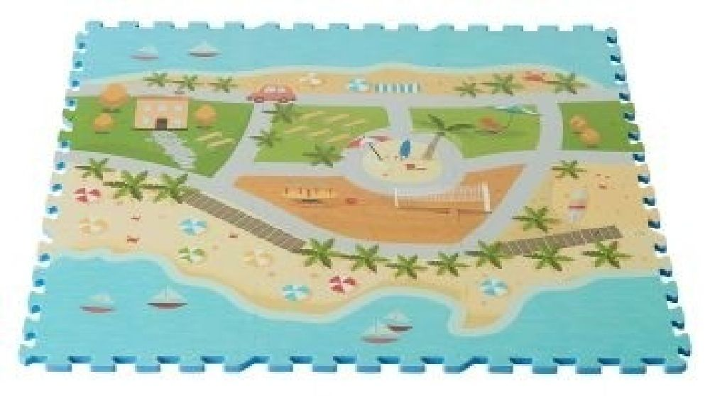 Foam Mats Printed Beach Road Map 9 Piece Set image 0