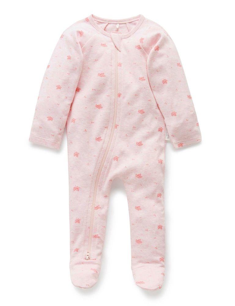 Purebaby Zip Growsuit Pink Leaf image 0