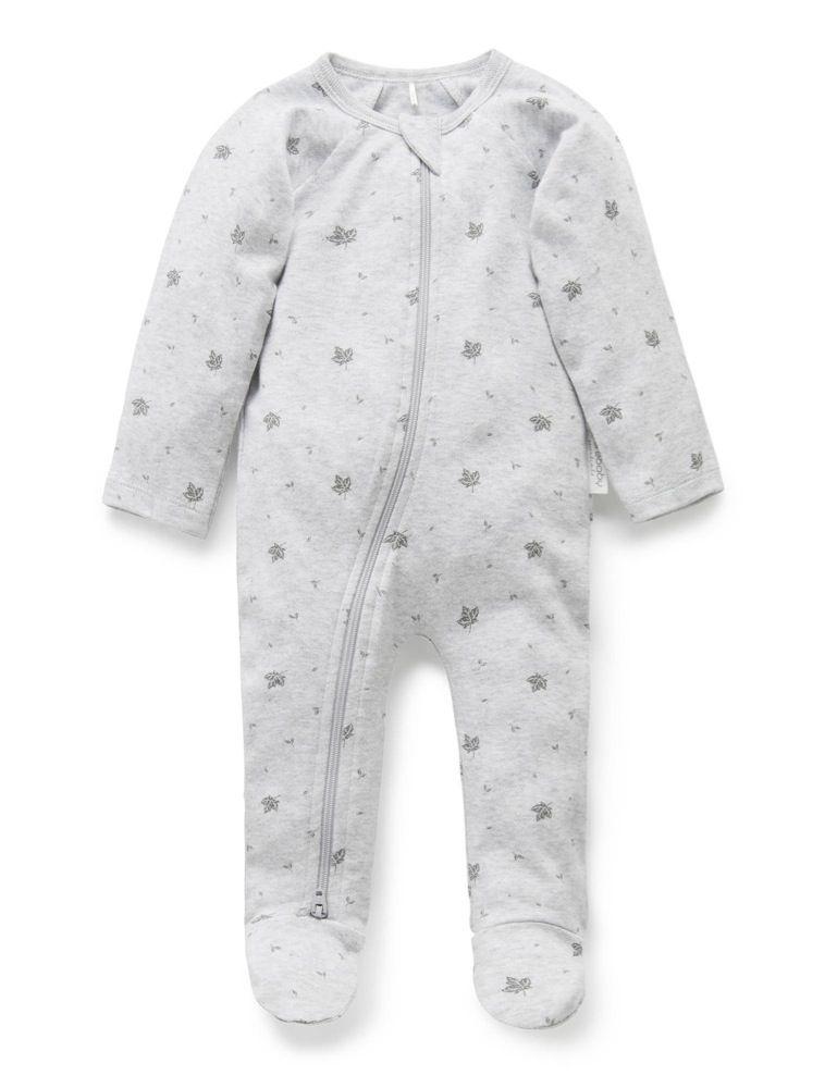 Purebaby Zip Growsuit Grey Leaf image 0