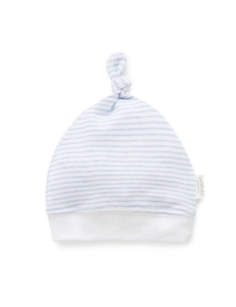 Purebaby Knot Hat Blue Melange Stripe image 0