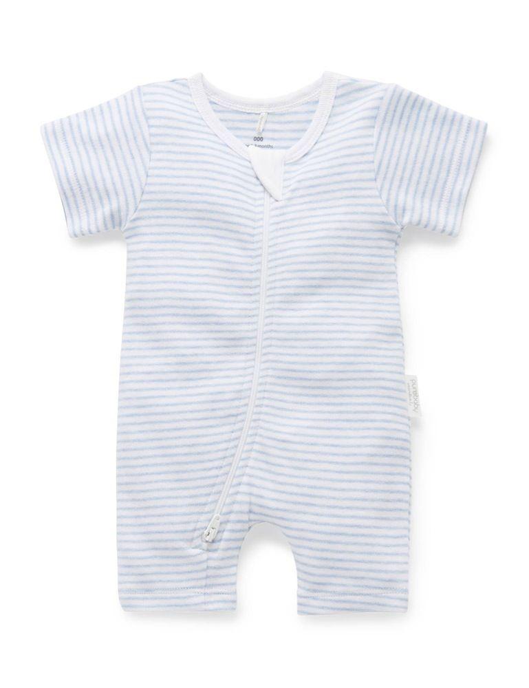Purebaby Short Sleeve Zip Growsuit Blue Melange Stripe image 0