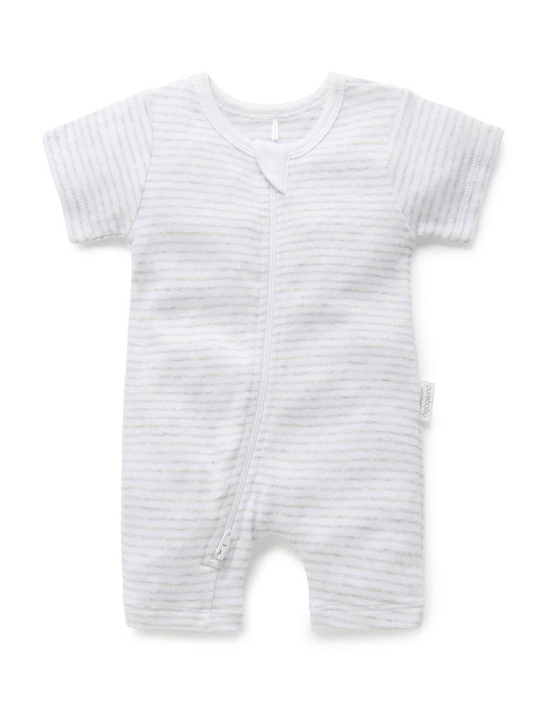 Purebaby Short Sleeve Zip Growsuit Grey Melange Stripe image 0