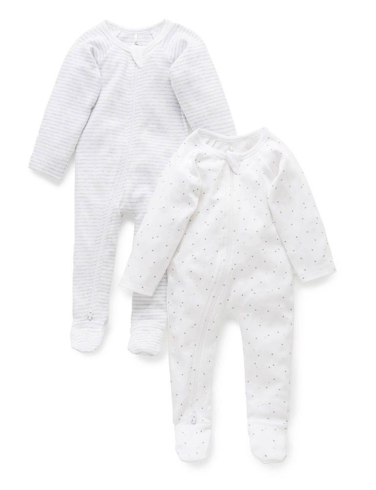 Purebaby Zip Growsuit 2 Pack Grey Melange image 0