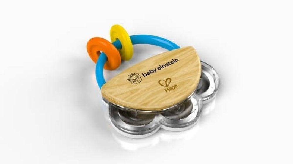 Baby Einstein Hape Tiny Tambourine Wooden Musical Toy image 0