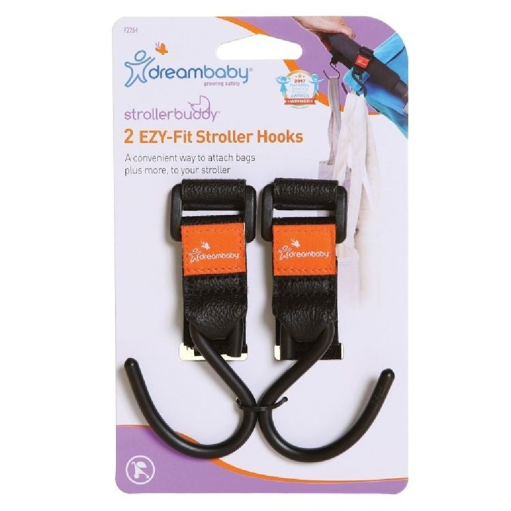 Dreambaby Strollerbuddy Ezy-Fit Stroller Hooks Black 2 Pack