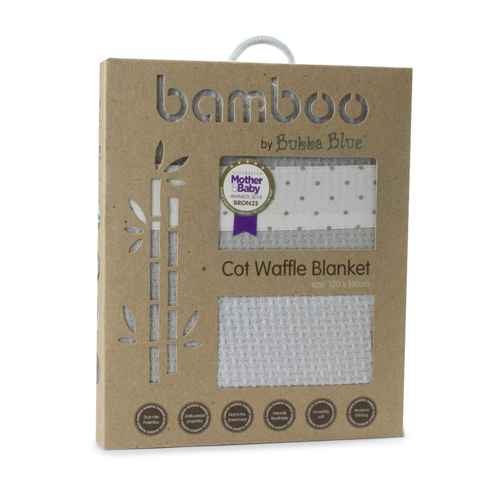 Bubba Blue Grey Bamboo Cot Waffle Blanket