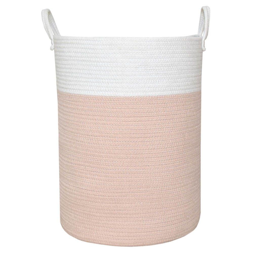Living Textiles Cotton Rope Hamper Blush (Online Only)