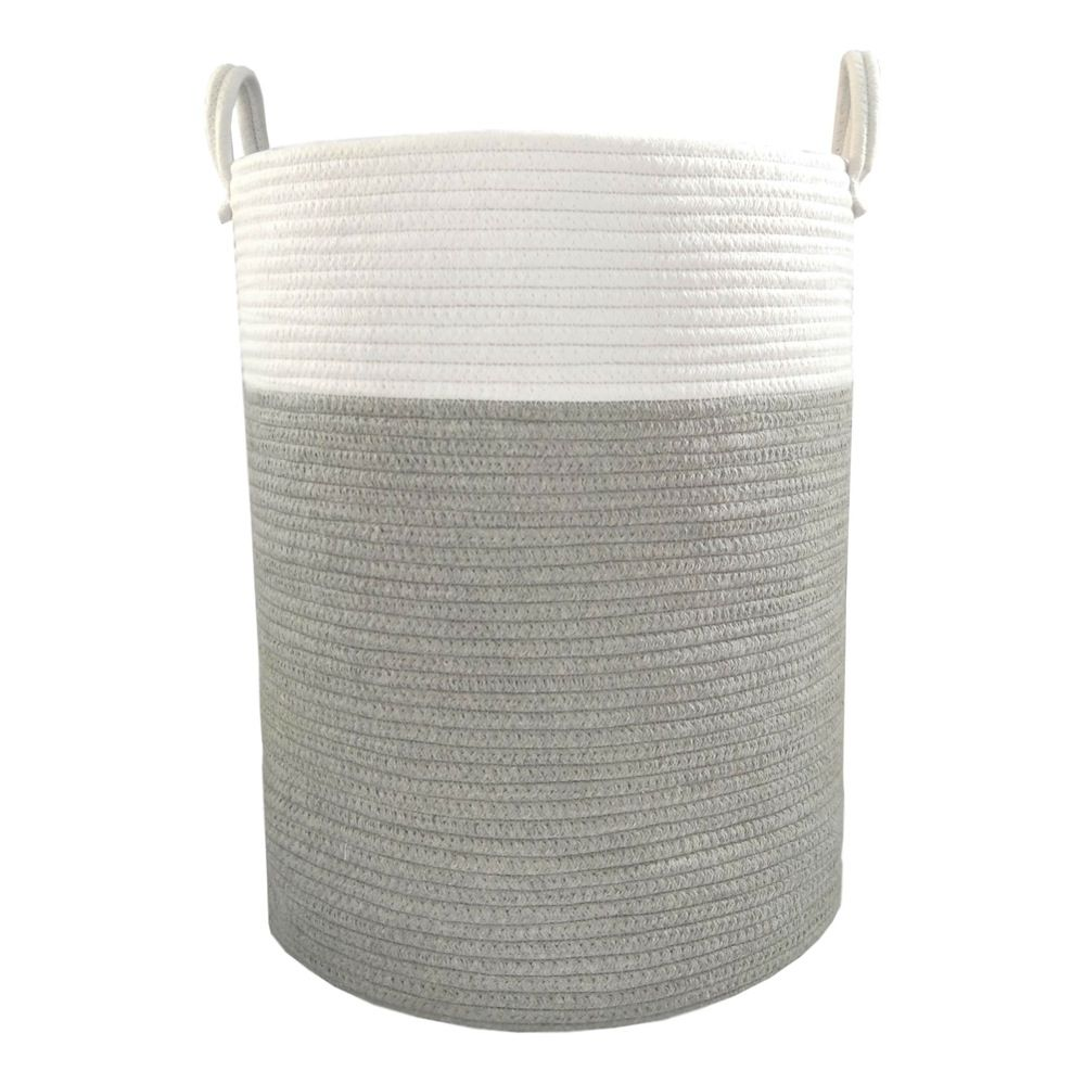 Living Textiles Cotton Rope Hamper Grey (Online Only)