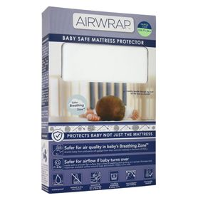 Airwrap Baby Safe Mattress Protector Cot Large White