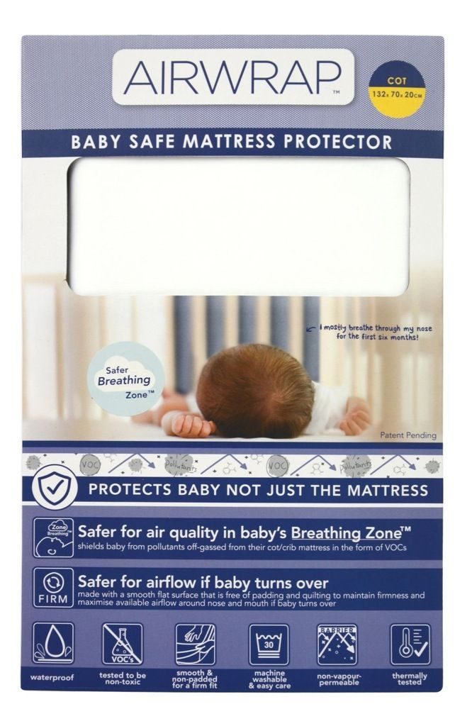 Airwrap Baby Safe Mattress Protector Cot Standard White