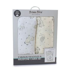 Bubba Blue Playtime Muslin Wrap with Milestone Card Vanilla 2 Pack