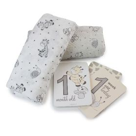 Bubba Blue Playtime Muslin Wrap with Milestone Card Grey 2 Pack