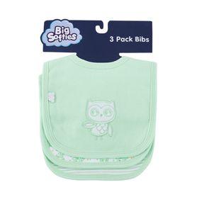 Big Softies Bib Applique Owl Mint - 3pk
