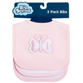 Big Softies Bib Applique Butterfly Pink - 3pk