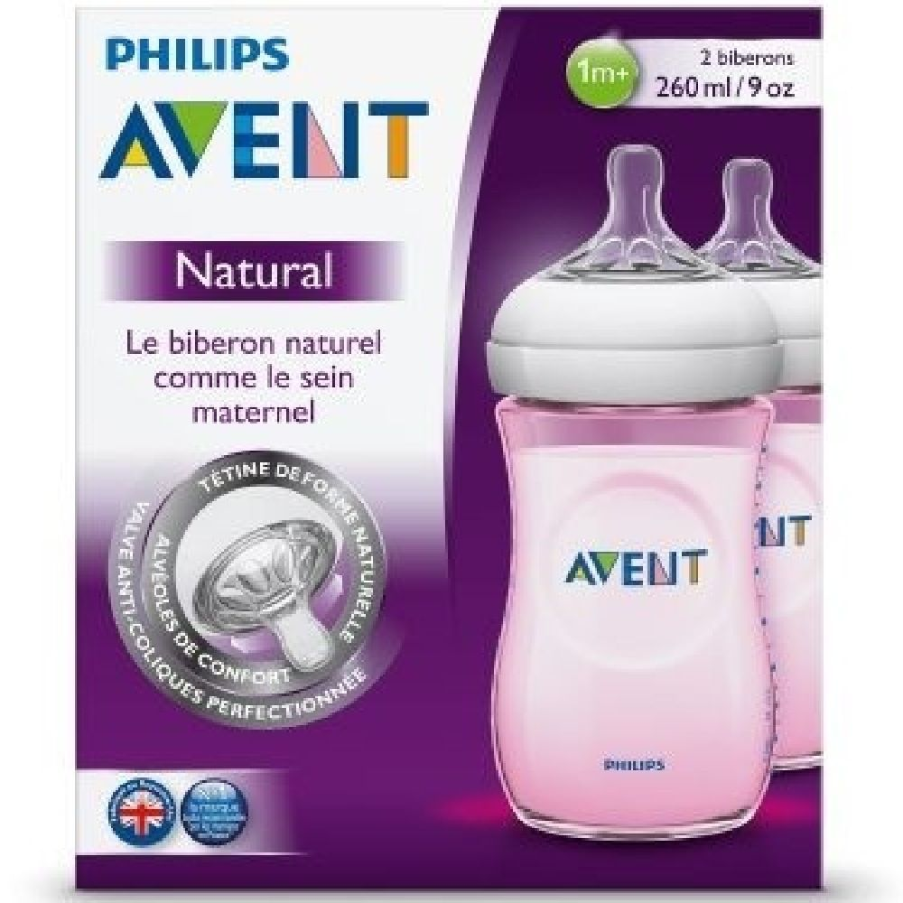 Avent Natural Bottle - 260ml Pink 2 Pack
