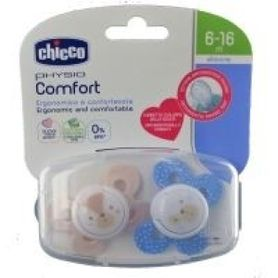 Chicco Physio Comfort Soother 6-16 Months 2 Pack Blue