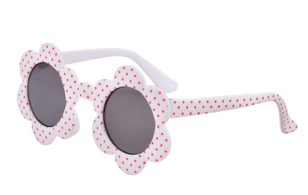 Frankie Ray Baby Daisy Sunglasses White/Red Spot