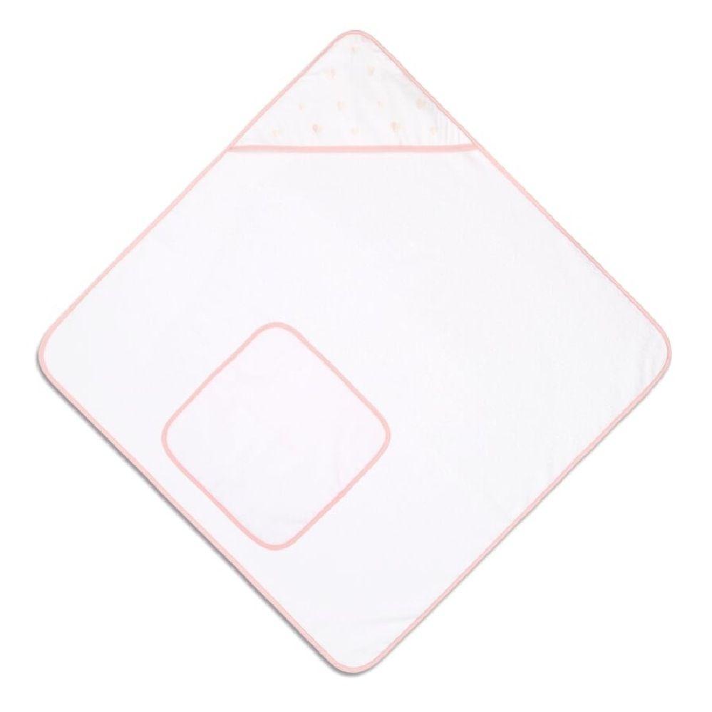 4Baby Hooded Towel & Washcloth Set Pink Heart
